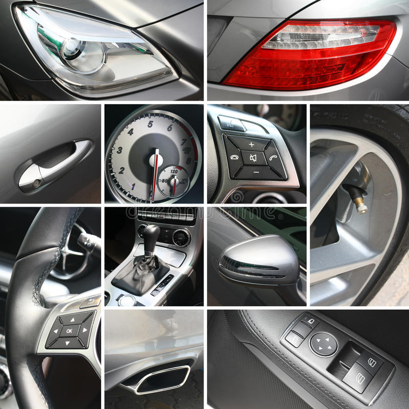 Luxury car details collage royalty free stock photography