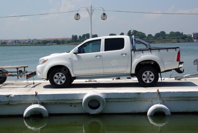 Luxury car on ferry boat stock photos