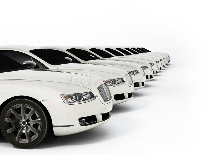 Luxury car fleet consisting of generic brandless design. 3D illustration vector illustration