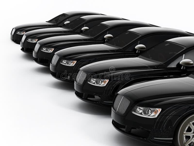 Luxury car fleet consisting of generic brandless designed cars. 3D illustration. royalty free illustration