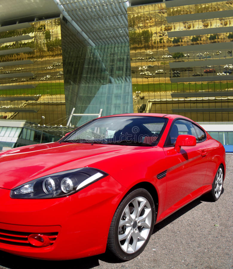 Download Luxury Car, Modern Golden Building Background Stock Image - Image: 15621791