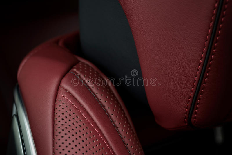 Luxury car interior detail. Leather seat with stitch. Macro photo royalty free stock photos