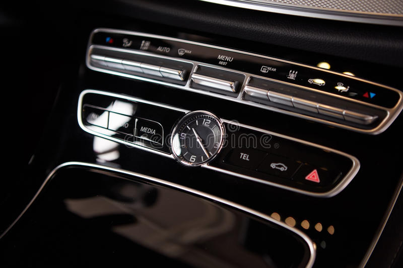 Download Luxury Car Interior Details. Middle Console With Air And Multimedia Controls Stock Photo - Image of display, flow: 78469432
