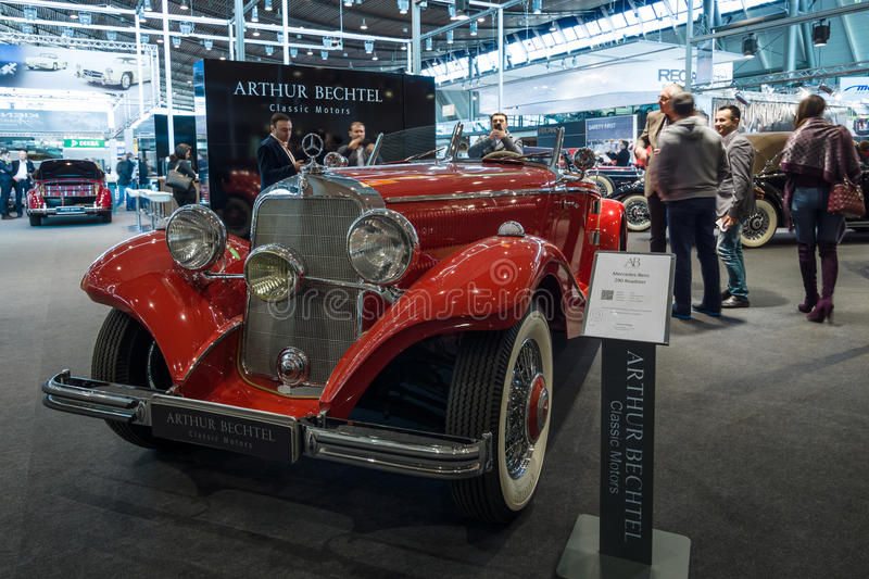Luxury car Mercedes-Benz Typ 290 Roadster (W18), 1935. STUTTGART, GERMANY- MARCH 17, 2016: Luxury car Mercedes-Benz Typ 290 Roadster (W18), 1935. Europe's stock photography