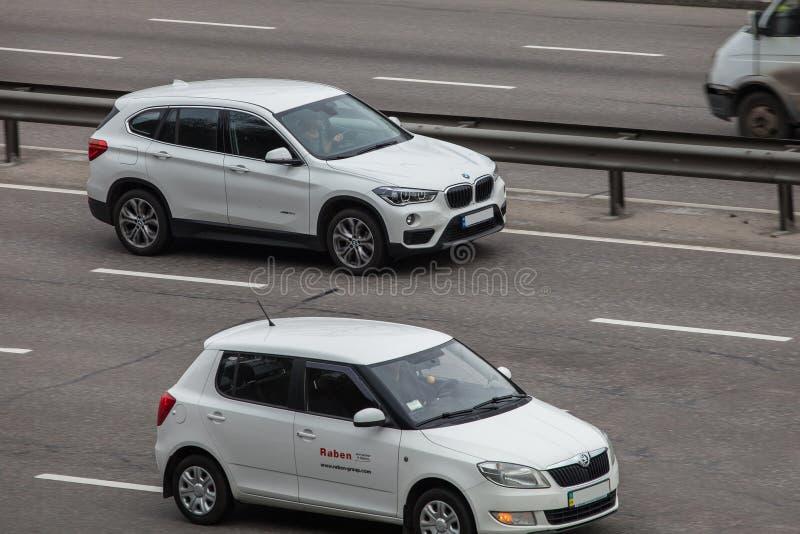 Luxury Car White BMW Speeding On Empty Highway Editorial ...