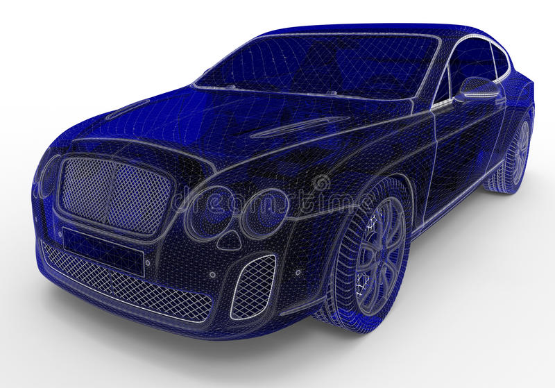 Luxury car - wire frame model royalty free illustration