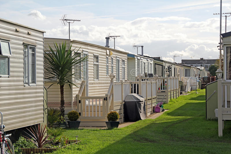 Luxury caravan park. Photo of luxury caravans on country park home site in the county of kent. photo taken sept 2015 stock image