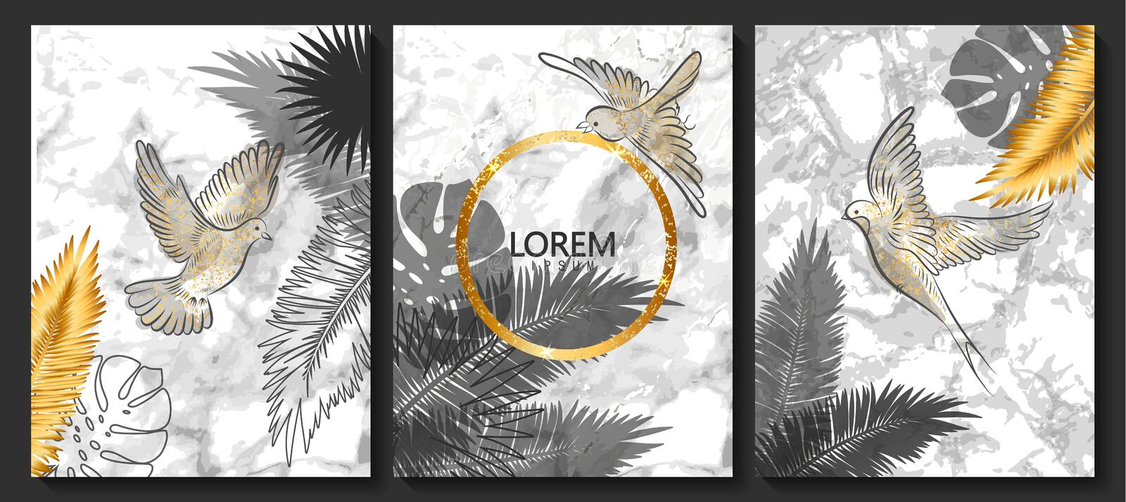 Luxury cards collection with marble texture,birds and tropical leaves .Vector trendy background. Modern set of abstract card, temp royalty free illustration