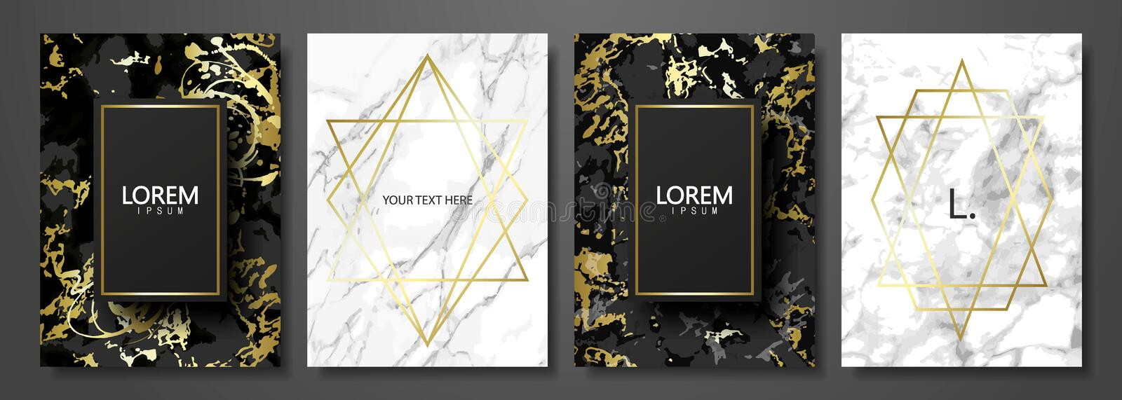 Luxury cards collection with marble texture and gold geometric shape.Vector trendy background. Modern set of abstract vector illustration