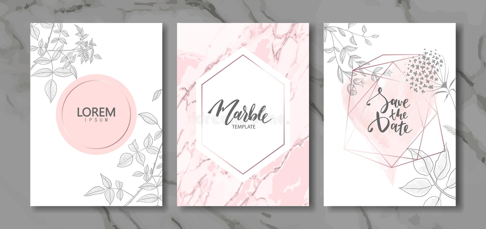 Luxury cards collection with marble texture and hand-drawn plants.Vector trendy background. Modern set of abstract card, template, stock illustration