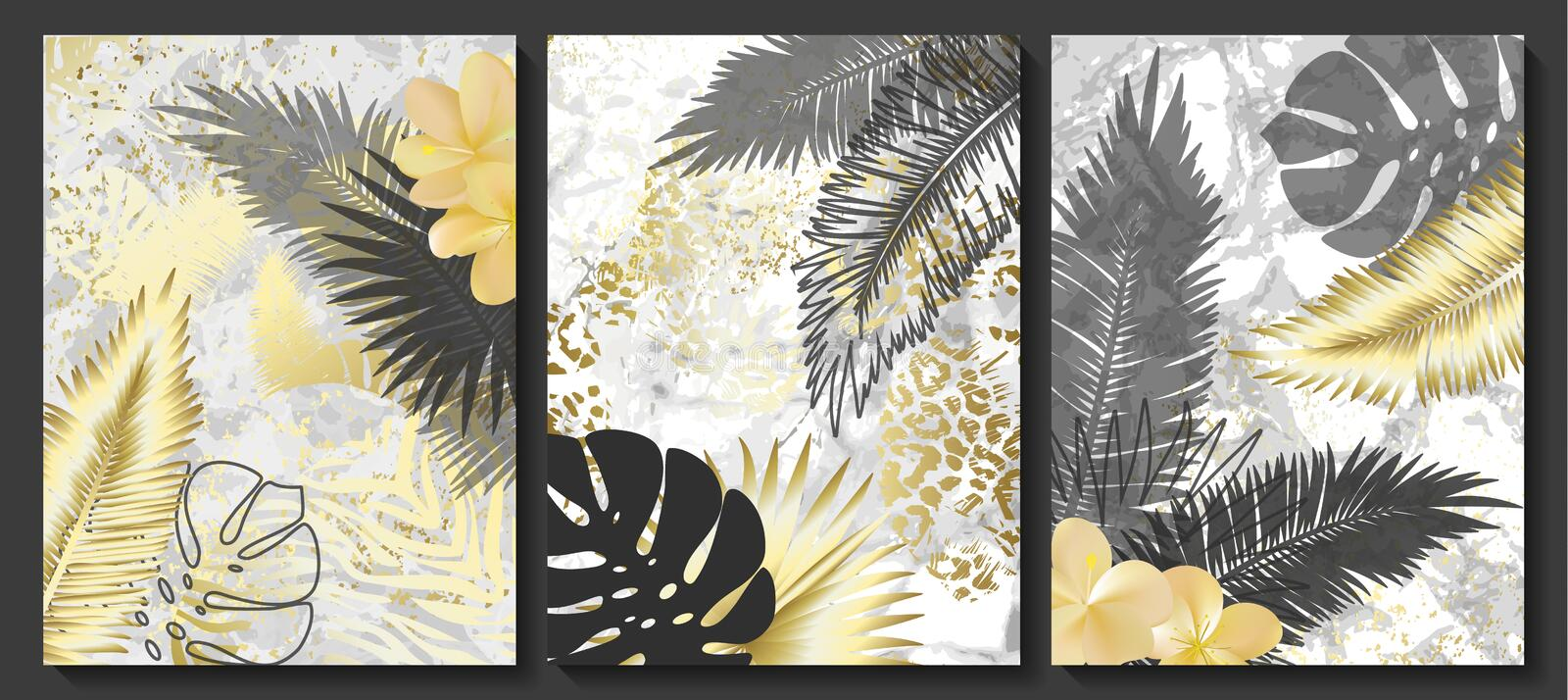 Luxury cards collection with marble texture and tropical leaves .Vector trendy background. Modern set of abstract card, template,p. Osters,invitational royalty free illustration