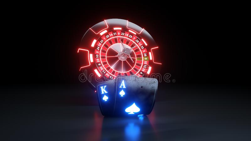 Luxury Casino Chips and Poker Cards BlackJack Casino Concept - 3D Illustration. Casino Gambling Futuristic Concept, Roulette Wheel and Poker Cards 3D vector illustration