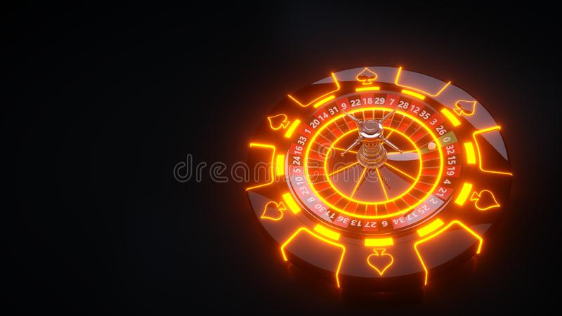 Luxury Casino Gambling Roulette Wheel and Chips - 3D Illustration. Casino Gambling Futuristic Concept, Roulette Wheel  and Poker Chips 3D Illustration on the vector illustration
