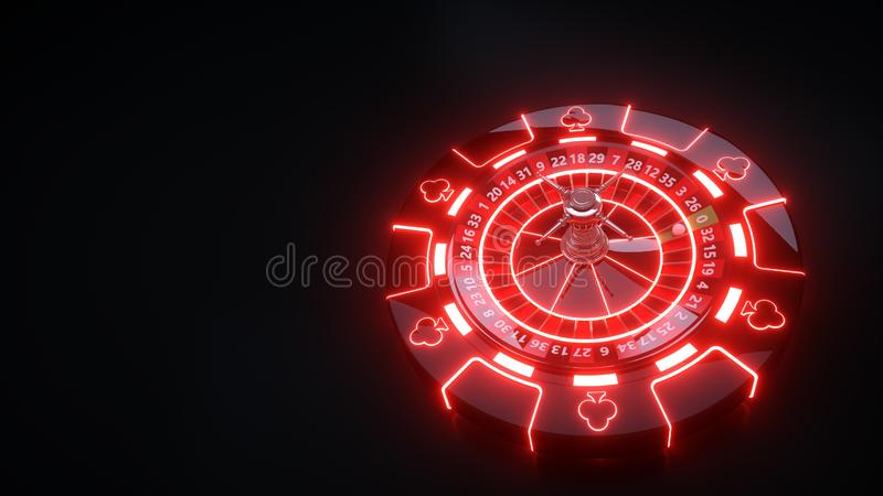 Luxury Casino Gambling Roulette Wheel and Chips With Neon Lights - 3D Illustration. Casino Gambling Futuristic Concept, Roulette Wheel  and Poker Chips 3D royalty free illustration