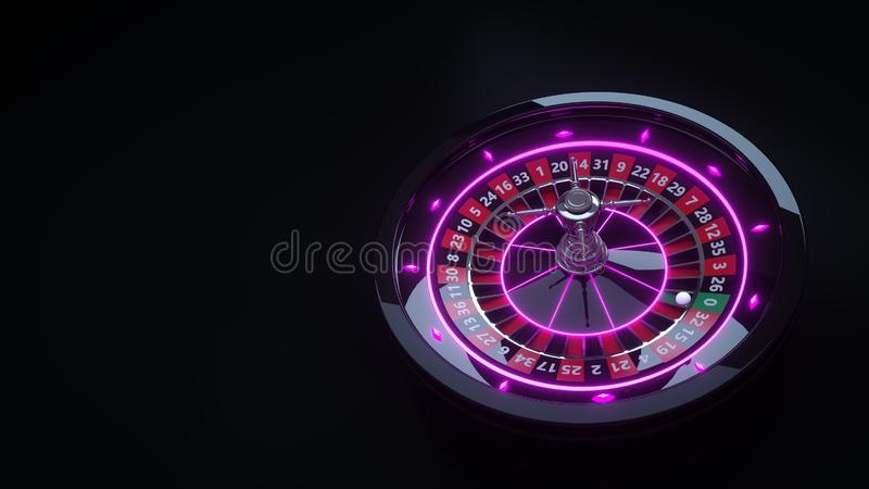 Luxury Casino Gambling Roulette Wheel 3D Realistic With Neon Lights - 3D Illustration. Casino Gambling Futuristic Concept, Roulette Wheel 3D Illustration on the royalty free illustration