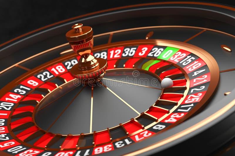 Luxury Casino roulette wheel on black background. Casino theme. Close-up black casino roulette with a ball on 21. Poker. Game table. 3d rendering illustration royalty free illustration