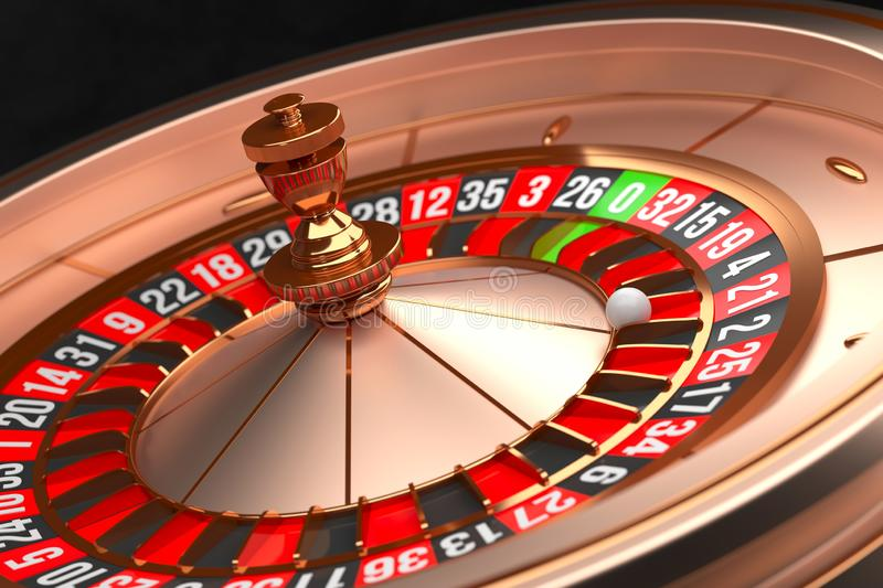 Luxury Casino roulette wheel on black background. Casino theme. Close-up golden casino roulette with a ball on 21. Poker. Game table. 3d rendering illustration stock illustration