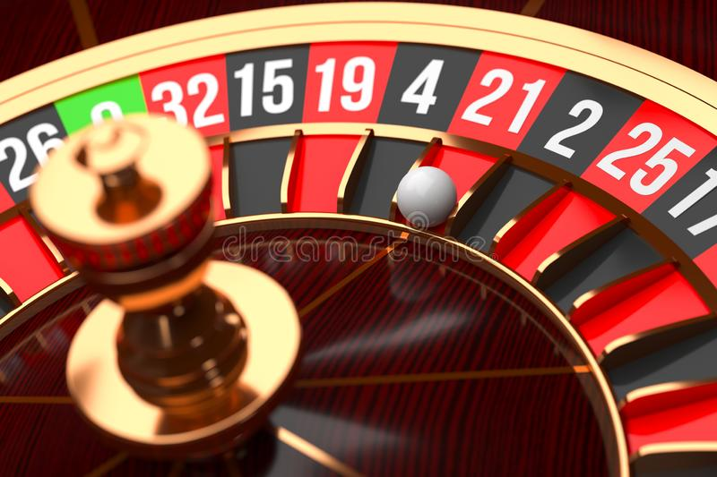 Luxury Casino roulette wheel on black background. Casino theme. Close-up wooden Casino roulette with a ball. Poker game. Table. 3d rendering illustration stock illustration
