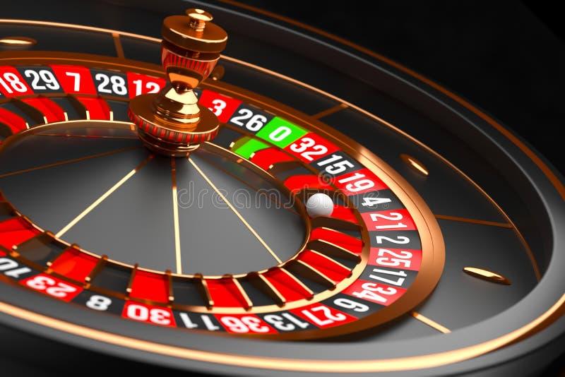 Luxury Casino roulette wheel on black background. Casino theme. Close-up black casino roulette with a ball on 21. Poker. Game table. 3d rendering illustration vector illustration