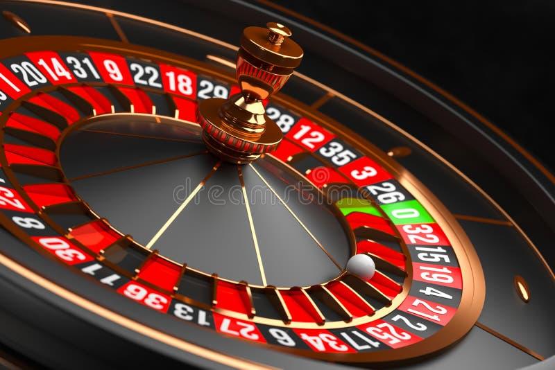 Luxury Casino roulette wheel on black background. Casino theme. Close-up black casino roulette with a ball on 21. Poker. Game table. 3d rendering illustration stock illustration
