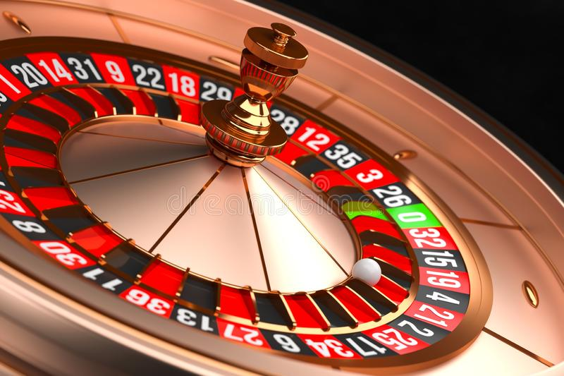 Luxury Casino roulette wheel on black background. Casino theme. Close-up golden casino roulette with a ball on 21. Poker. Game table. 3d rendering illustration vector illustration