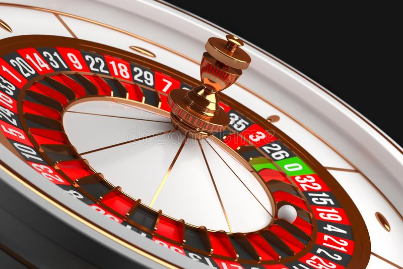 Luxury Casino roulette wheel on black background. Casino theme. Close-up white casino roulette with a ball on 21. Poker. Luxury Casino roulette wheel on black vector illustration