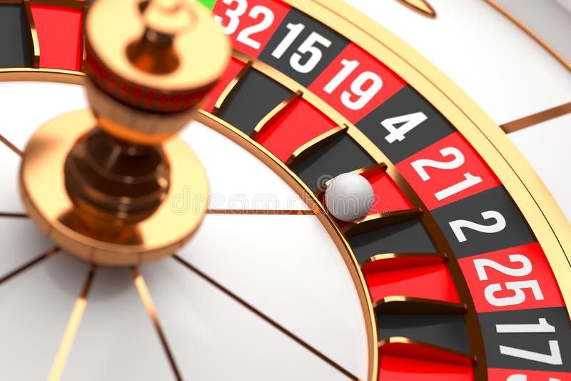 Luxury Casino roulette wheel on black background. Casino theme. Close-up white casino roulette with a ball on 21. Poker. Luxury Casino roulette wheel on black royalty free illustration