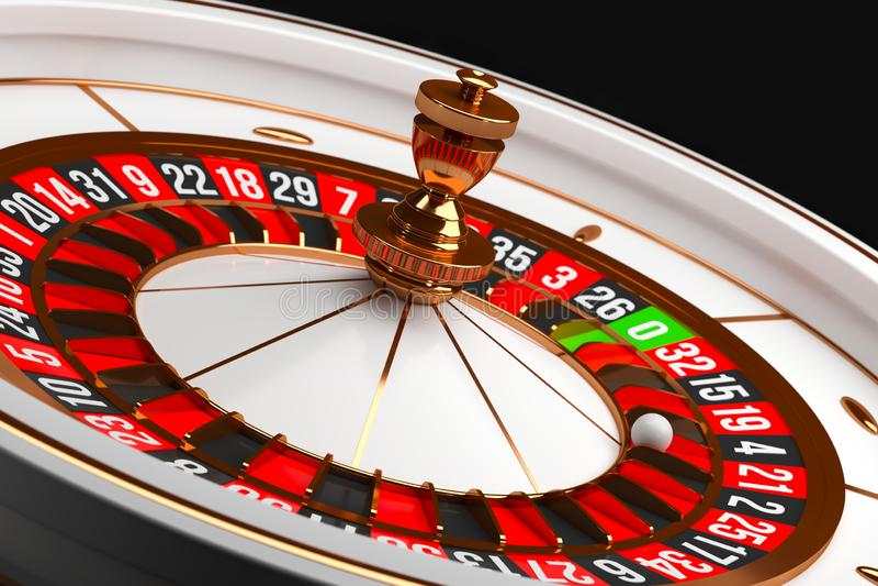 Luxury Casino roulette wheel on black background. Casino theme. Close-up white casino roulette with a ball on 21. Poker. Luxury Casino roulette wheel on black stock illustration