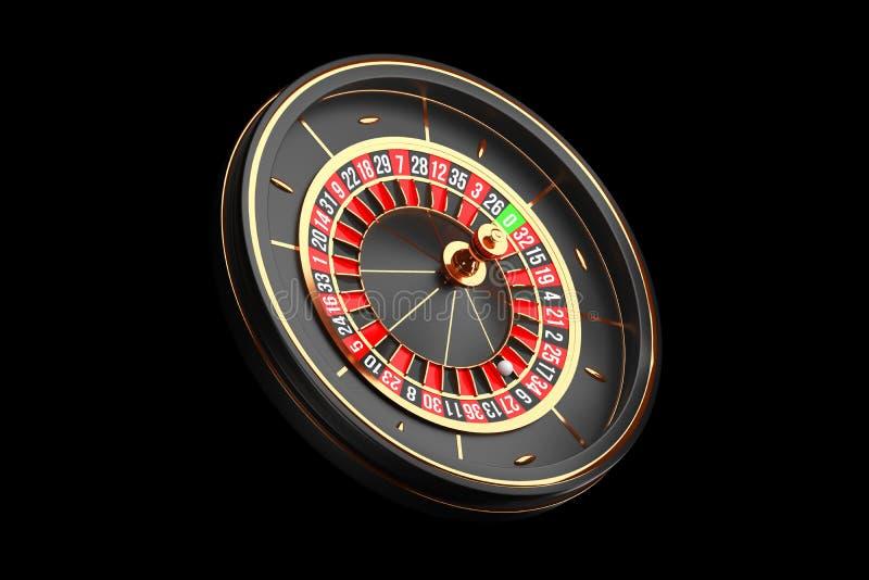 Luxury Casino roulette wheel on black background. Casino theme icon. Close-up wooden Casino roulette with a ball. Poker. Luxury Casino roulette wheel on black vector illustration