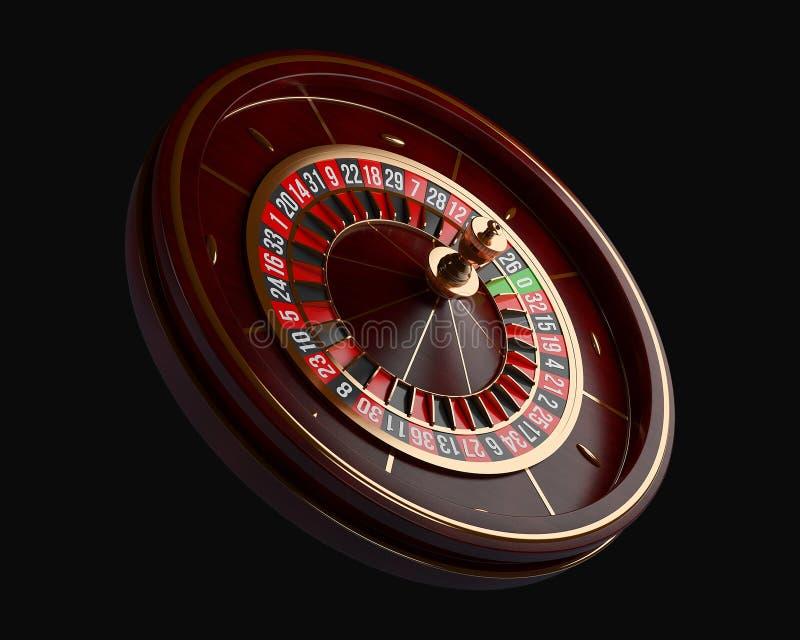 Luxury Casino roulette wheel isolated on black background. Wooden Casino roulette 3d rendering illustration. Luxury Casino roulette wheel isolated on black vector illustration