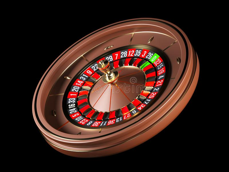 Luxury Casino roulette wheel isolated on black background. Wooden Casino roulette 3d rendering illustration. Luxury Casino roulette wheel isolated on black royalty free illustration