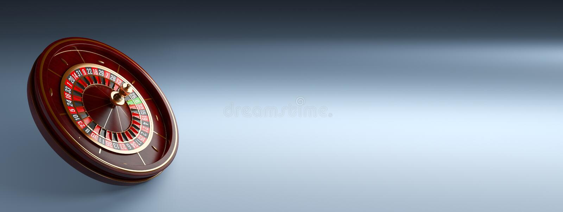 Luxury Casino roulette wheel wide banner on blue background. Wooden Casino roulette 3d rendering illustration.  stock illustration