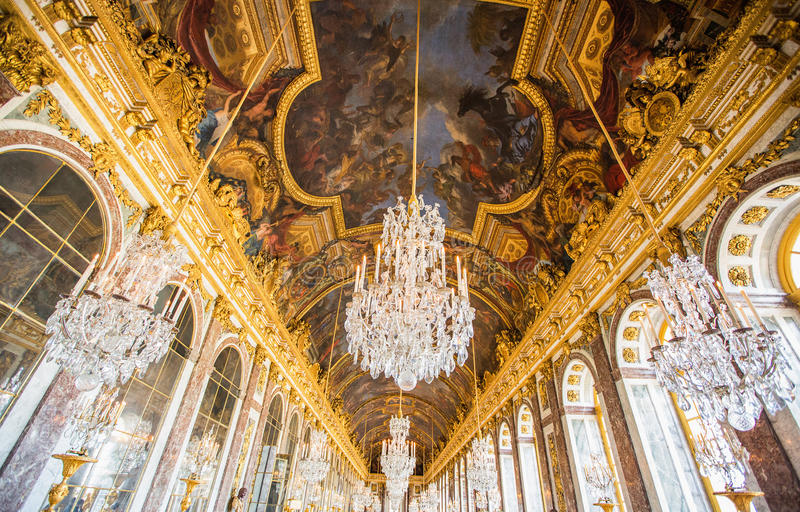 A luxury ceiling decoration in Versailles palace in Paris, Franc stock photos