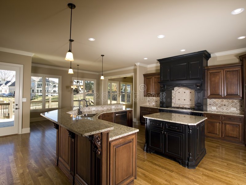 Luxury Center Island Kitchen With View Stock Photo Image