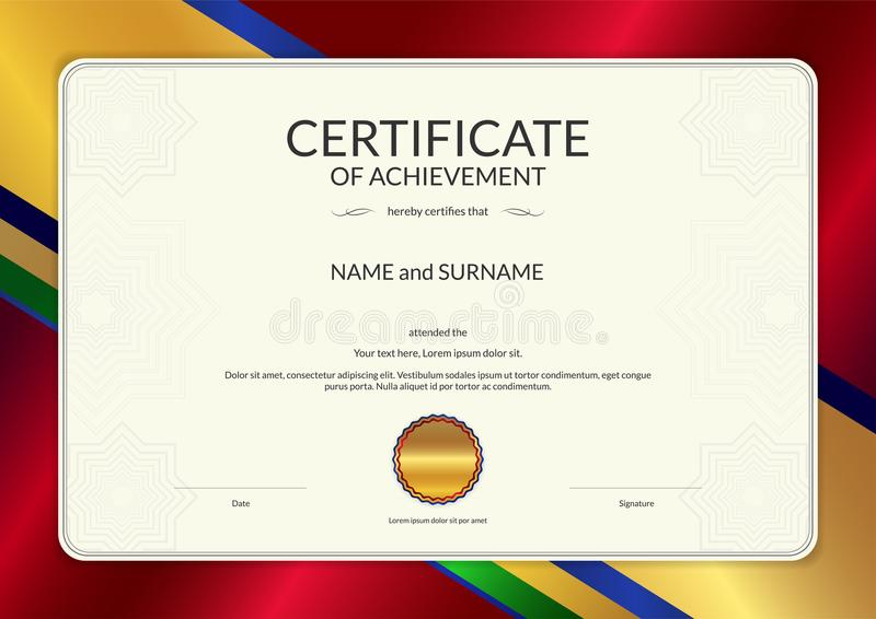 Download Luxury Certificate Template With Elegant Border Frame, Diploma D Stock Vector - Illustration of certificate, company: 107670151