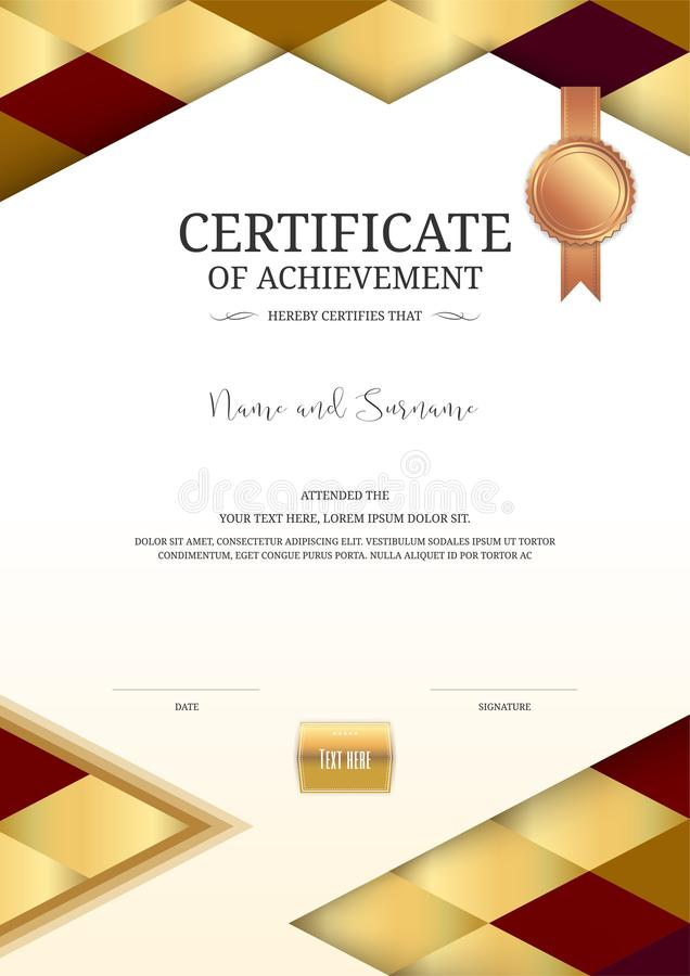 Download Luxury Certificate Template With Elegant Border Frame, Diploma D Stock Vector - Illustration of celebration, achievement: 107670086