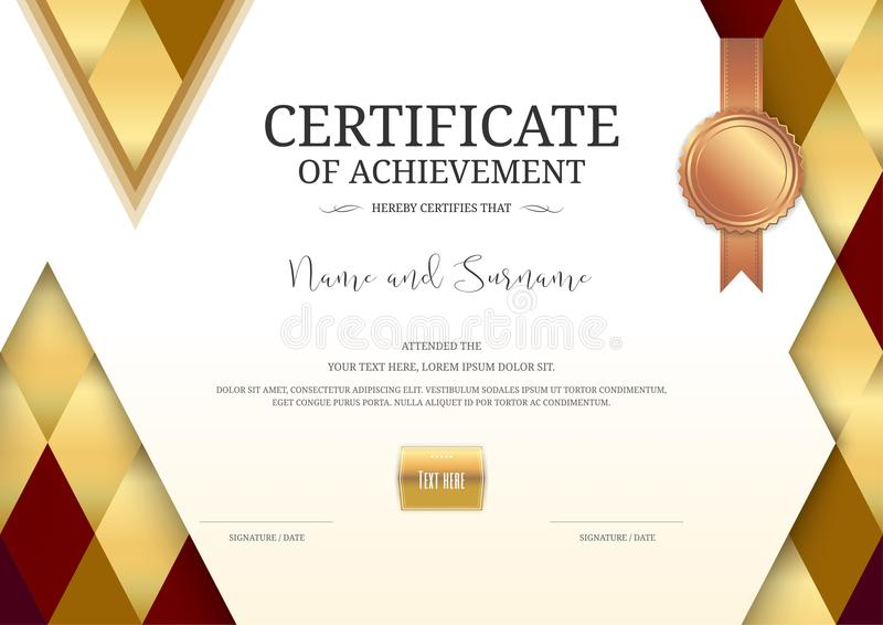 Download Luxury Certificate Template With Elegant Border Frame, Diploma D Stock Vector - Illustration of appreciation, gift: 107670265