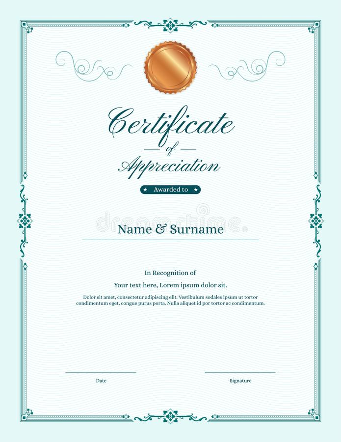 Luxury Certificate Template With Elegant Border Frame Stock