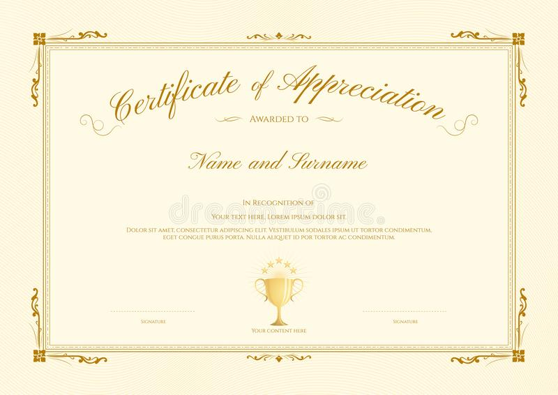 royalty free vector download luxury certificate template with elegant border frame diploma design for graduation or completion stock