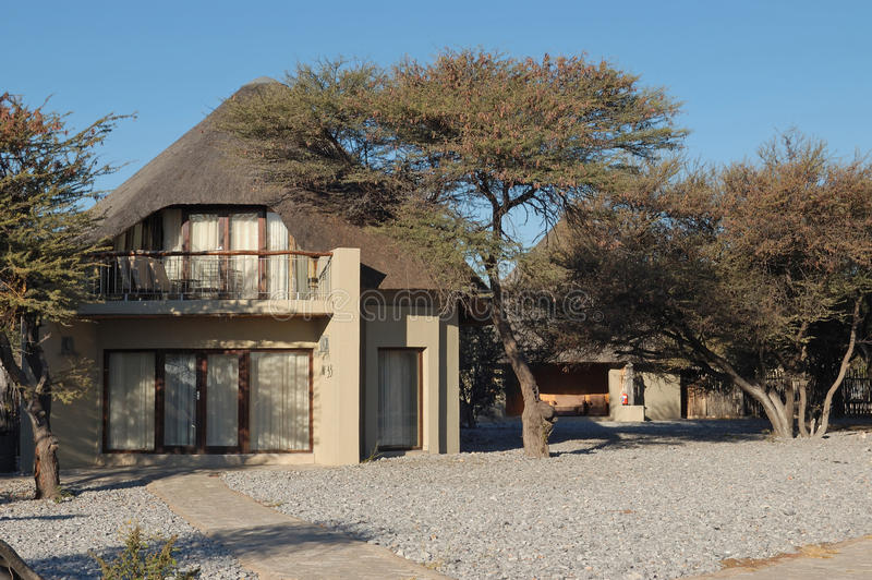 Luxury chalets at the Okaukeujo Rest Camp, Etosha National Park, Namibia. Luxury chalets, Okaukeujo Rest Camp, Etosha National Park, Namibia stock image