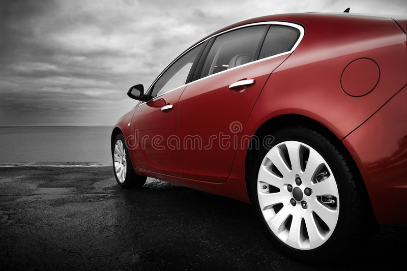 Luxury cherry red car royalty free stock images
