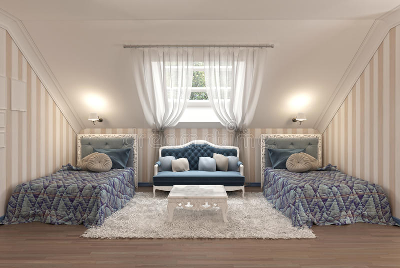 Luxury children's bedroom for two kids with twin beds. vector illustration