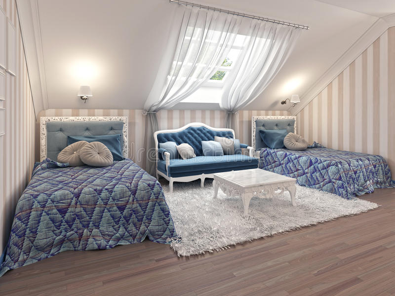 Luxury children's bedroom for two kids with twin beds. royalty free illustration