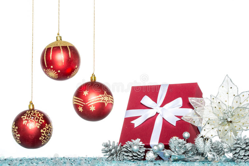 Luxury Christmas ball, flower and gift, Christmas sale stock images