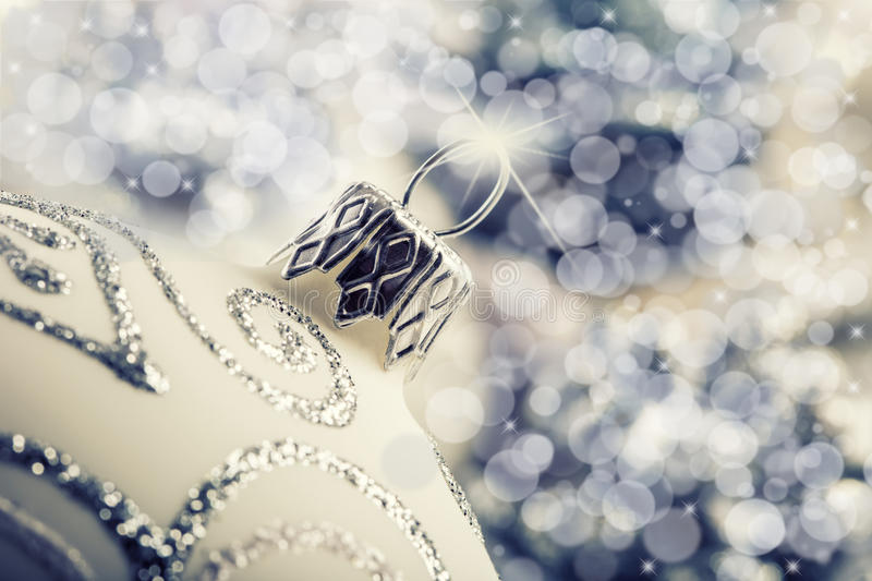 Luxury Christmas ball with ornaments in Christmas Snowy Landscape. stock photo