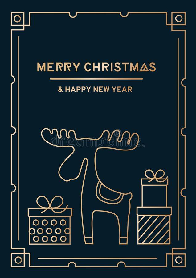 Luxury Christmas greeting card with gold lines, beautiful green stock illustration