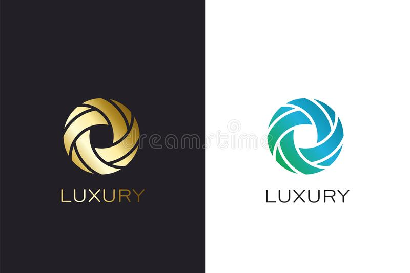 Luxury circle abstract logo vector design. Gold colored. Golden abstract circle logo. Luxury style royalty free illustration