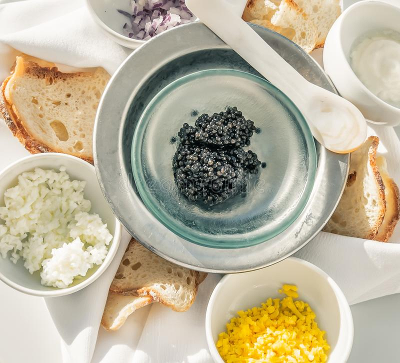 Luxury classic caviar plate. stock images