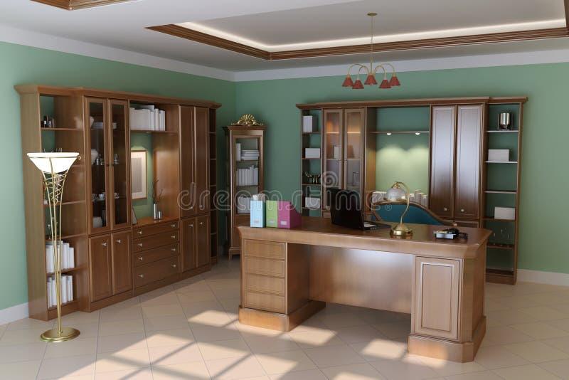 Luxury classic study room vector illustration