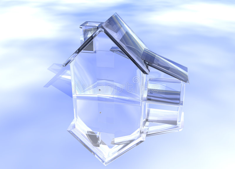Luxury Clear Glass Diamond House. Model on Blue-Sky Background with Reflection Concept Luxurious and Expensive Expense royalty free illustration